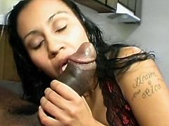 Big black cock sucked deepthroat by horny Indian slut in a dirty interracial sex video
