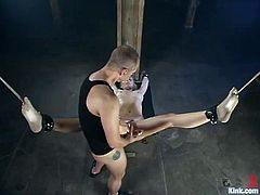 The beautiful blonde Annette Schwarz is going to get dominated in this bondage session packed with rough hardcore sex.