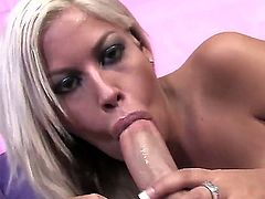 So great-looking and so hot blonde chick Bridgette B. is having so much delight with fellow. She stays bare before standing on knees and sucking fat rod so well.