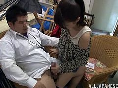 Japanese television is crazy. Some Japanese girl gets her tits and pussy toyed with vibrators by four naked guys. After that she gives a blowjob to one of them.