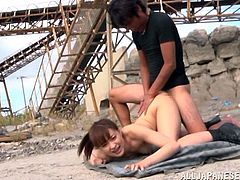 Stunning Japanese girl gets undressed and tied up. After that she gives a blowjob and gets her pussy fondled. Then she also gets fucked on the ground.