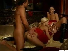 Red is the color as Simony Diamond and Stacy Silver are wearing the sexiest lingerie for this FFM threesome with one very lucky fella.