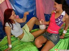 Two playful funny teens prepared for you exciting lesbian sex video. One brunette keeps dildo in the ice for a while and later thrusts it deep in hot pussy of her lustful girlfriend.