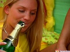 Appealing girl with pretty face and fit slim body is fucking hard in old young fuck porn clip. So she is sucking hard dong deepthroat mixing the cum juice with champagne.