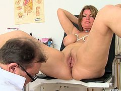 Old Pussy Exam presents you naughty porn movie featuring chubby aunty Bohunka. She sits on a special medical chair in doctor's office keeping her legs wide open. Perverted doc fills pussy with lubricant using pump. Then, Bohunka pissing in a bowl where doc is collecting warm yellow color urine.