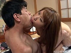 Adorable Japanese girl takes her clothes off and gets her vagina licked. After that she gives sloppy blowjob and gets fucked from behind.