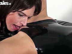 Three hawt babes in latex costumes performs you hot action. They rub against each other and lick pussies like greedy for lady juice. Enjoy passionate lesbo chicks for free.
