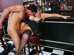 Big titted cutie Katie Kox enjoys riding on her mans long stiff cock on a bar counter