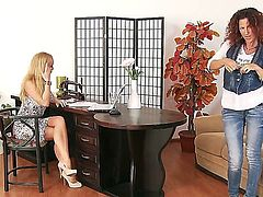 Nice interview scene with Evette and Silvia Saint looks so great. The redhead chick starts undressing before naughty blondie demonstrating all of her delights to her.