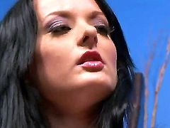 Sinful brunette hooker Melissa Lauren spends nice time with two men at once. She exposes delights before giving handjobs to fellows and feeling huge cumshots on face.