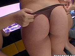 Brianna Beach, Kodi and Samantha Sabadra are three playful babs with perfect bubble asses. They strip down to their thongs and demonstrate their round buttocks. Then they pull down their tiny panties.