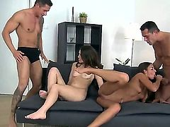 Horney sexy brunette babes gets their  pussies fucked hard by two cocks in a foursome action