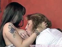Two horn made flamboyant MILFs hook up for insane lesbian sex orgy. They caress each other's fat bodies sitting on the couch fully clothed before they get naked to oral stroke big milky tits and hard nipples.