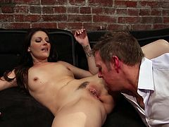 Hot and slim brunette milf is seducing her charming guy to have some eternal fun. First the guy wants to stimulate her by touching her small boobs and nipples, then he goes down to her vagina. This horny slut is paying him back by giving a hell of a mouthful suck.
