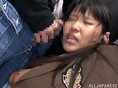 This schoolgirl has her panties pulled down on the train and she's fingered extremely hard. She has two cocks shoves in her face and she's made, to suck them. Her tits get covered in spit and cum, and she's fucked from behind.