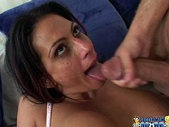 A cock-hungry brunette bitch with big tits sucks on a hard dick and gets her pussy fucking fucked hard, check it out right here.