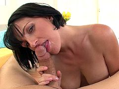 Slutty Roxanne Hall likes stroking and sucking huge cock in dirty POV oral