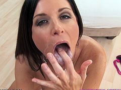 Sizzling brunette India Summer is getting naughty with some dude in the living room. She sucks and deepthroats the dude's prick and moans sweetly with pleasure.