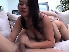 Cheep looking mature black haired asian bitch Kiwi Ling with long whorish nails gets her trimmed minge boned deep by handsome neighbor and sucks his stiff cock like crazy.