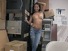 Sexy amateur asian with big tits gets her flawless cunt pounded hard by a huge cock