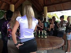Tainster sex clip will show you which way a boring B'day party goes, when slutty gals get tipsy. Horny cock hungry nymphos are drunk. Slim bitches in short skirts and tops climb to the tables, cuz whorish nympho gonna striptease outdoors to lure dudes for casual sex.