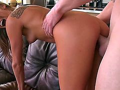 Blonde chick Aiden Aspen stays bare and gives a head. She sucks the penis like a tasty candy bringing so much enjoyment to the pal before getting drilled in doggy style.