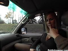 This horny chick was on the way with her BF in the car. Then honey asks him to pull over so that she'd please his cock. With great pleasure honey, he says!