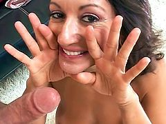 Mature suck and swallows in pov mode