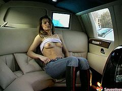 Horny brownhead babe with slim sexy body is solo masturbating in a limo. She moans seductively rubbing wet twat with fingers. Hot Seventeen Video for free on AnySex.
