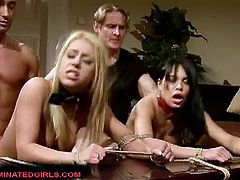 Two horny guys uses Nikky Thorne and Amabella as their sex slaves to have sex with each other and with them, Check out how these two tied girls get tortured and get fucked in their juicy pussies.Enjoy!