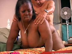Watch the perverse black bbw Subrina flaunting her big round tits and amazing ass before giving her man a hell of a blowjob. Watch her body bounce as she gets her shaved slit banged into heaven.