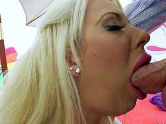 Flexible blonde whore with Courtney Taylor with big fake balloons and cheep make up in provocative lingerie plays with glass dildo in point of view and does amazing deep throat