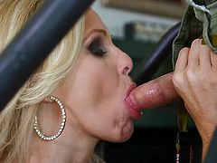 With a pretty face and an appealing body this 44 years old blonde has an amazing talent to suck cock. After some sweet talk she bends and wraps her juicy lips around the guy's penis while he's exercising. This doesn't satisfies her so she swallows that cock and sucks is over and over again.