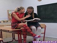 18 year old lesbian schoolgirls getting naughty in the class room! They are turned on and will do anything to get full satisfaction!