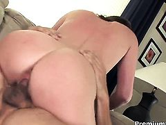 Sara Stone with gigantic hooters gives deep throat job to hot guy