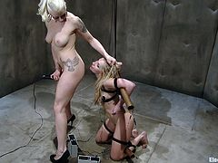 A couple of kinky fucking chicks get off with electricity in this bondage clip packed with perverted shit. Check it out!