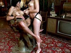 Beretta James and Sinn Page are two stunning brunettes. Beretta strips her clothes off and gets tied up. Later on she gets toyed with the strap-on and an electric dildo.