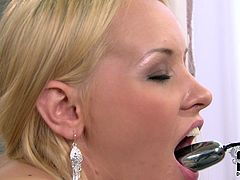Adorable blonde likes to play with her favorite vibrating sex toy. She sends it deep in her pussy and finger fucks her ass hole and clit.