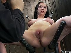 Bitch gets suction devices on her nipples and a fucking machine to her cunt in this intense bondage scene right here! Check it out!
