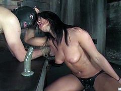 A masked guy will get some torture from Sandra Romain before the dominant brunette strapon fucks his ass hard in this BDSM vid.