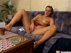 Two sex hungry young folks arrive home in order to satisfy their lust. They sits on the couch half naked before a spoiled chic widens her legs to masturbate in front of aroused BF.