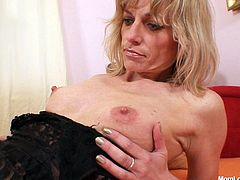 Czech mature woman is eager for orgasm and finger fucks her pussy in doggy style. Enjoy her snatch spiced up with big pussy curtains.