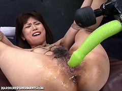 Japanese sex slave gets dildoed by her masters