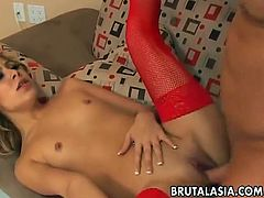 Kat is a sexy Oriental slut. She rides cock and this guy fingers her ass hole. She has an orgasm from all that pussy fucking.