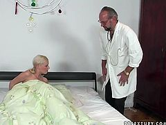 Kinky pale blond head is ill. She calls a doctor. But as soon as slutty pallid gal with natural tits sees the boner of spoiled old man in glasses, she unzips his pants and provides spoiled doctor with a solid blowjob for sperm.