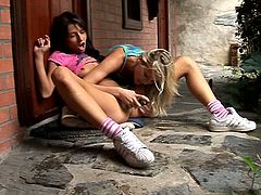 Two playful Russian cuties make out outdoor. One of them sits on the stub getting her pussy eaten before she drills ruined cunt of sizzling blondie with a dildo outdoor.