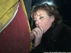 Check out this horny Dutch mature deepthroating a firefighter's stiff cock. Her pussy is wet and she wants to take a ride on it!
