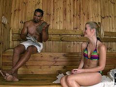 Big black guy with huge cock fucks head of one nasty blonde in the sauna. She swallows his dick like professional sucking head and you can enjoy the deep of her throat.