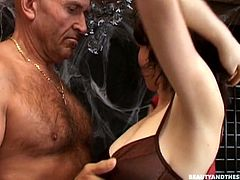 The Halloween house party is turned into a super hot sex. Slutty black head gets a bit tipsy and goes nuts about sucking the old man's dick for sperm. Spoiled nympho with natural tits desires to ride his still strong dick to reach multiple orgasm at night.