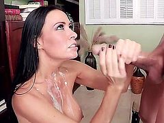 Seductive smoking hot milf Vanilla DeVille with huge jaw dropping tits and dark heavy make up in lingerie gets her shaved minge boned deep by handsome Bruce Venture in close up.